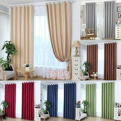 Solid Lined Blackout Thermal Eyelet Ring Top Door Window Curtains