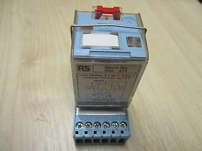 RS 11 pin Latching Relay 350-412, 240V AC, with DIN rail base and clip