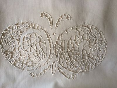 vintage sheet set open work hand embroidered hemstitched cotton NU shell buttons