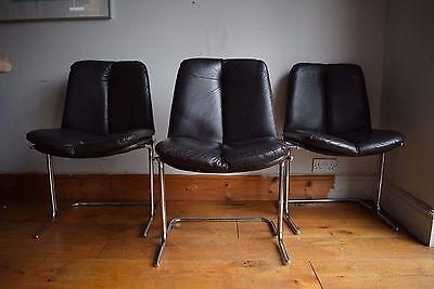 6 VINTAGE 1970s PIEFF LEATHER & CHROME ELEGANZA DINING CHAIRS retro