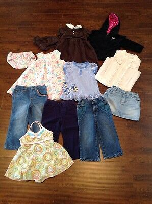 Lot Of 12 Girl Clothes Carter's Chaps Tops Bottoms Dress Swim Baby 18 Months
