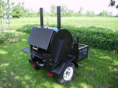 New Commercial BBQ Rotisserie Smoker Grill On Trailer SALE!!! NolensCustomSmoker