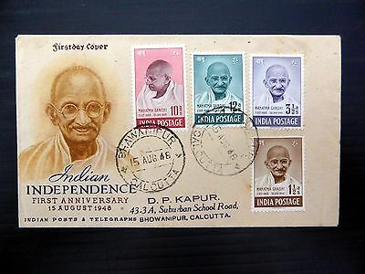 INDIA 1948 Gandhi (4) on RARE Souvenir FDC FP9338