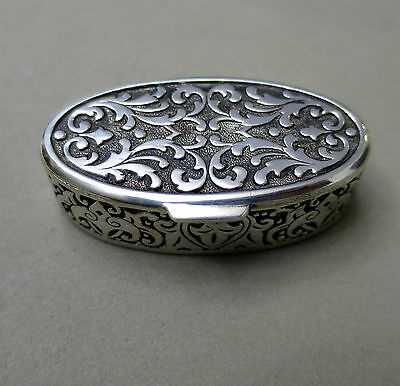 Lovely Solid Silver Hinged Pill Box Hallmarked