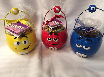 Set of 3 M&M's Candy Bowls with Handles RED YELLOW BLUE New Sealed w/ Tags 2003