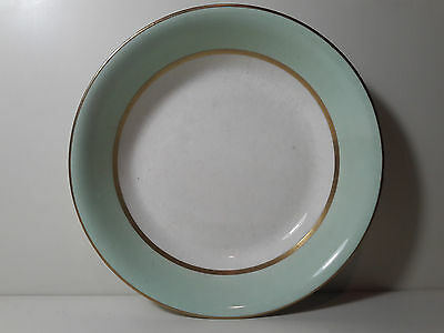 """Pope Gosser China Spring Bowl Green and White with Gold Trim 7 5/8"""""""