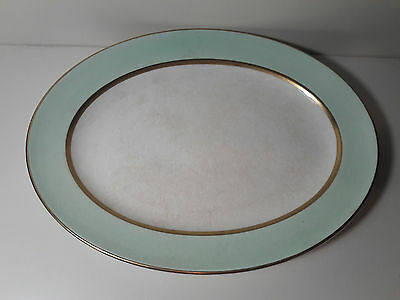 Pope Gosser China Spring Serving Tray Green and White Gold Trim 308 Coin Gold