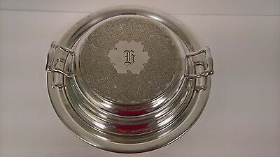 Silverplate Chafing Warming Dish Server Engraved Made by Excelsior Vintage