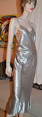 Glossy wet look SILVER satin VTG long gown Chemise uk 18