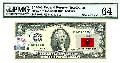 Money Us $2 Dollars Federal Reserve Star Note 2009 Pmg  Flag Of Albania
