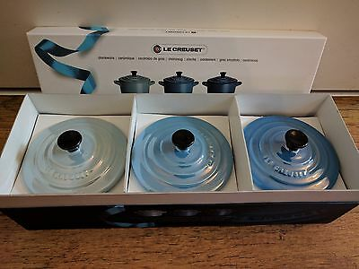 le creuset three mini cocotte casseroles in special edition pearlescent colours