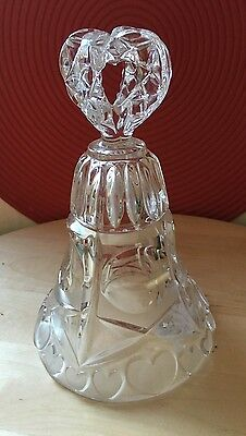 Crystal Cut Glass Carved Heart Pattern Frosted Detail Ornament / wedding gift
