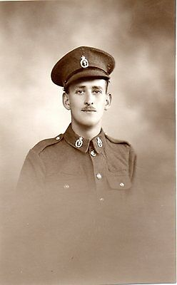 British Soldier With Collar & Cap Badge Ww1 Military Photograph Exc