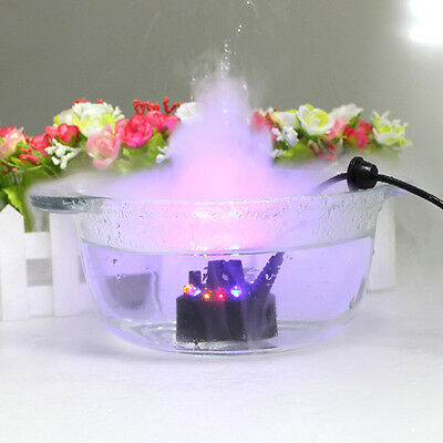 Mist Maker Fogger Water Fountain Pond Fog Machine Atomizer Air Humidifier 12 LED