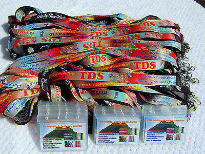 100 Personalised Lanyards,Printed with Your Logo&Text 20mm + 100 ID CARD HOLDER!