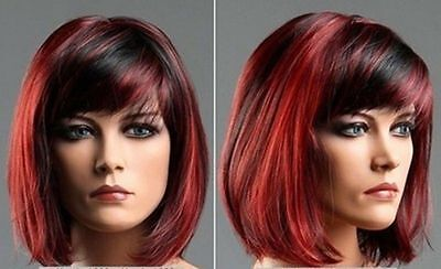 New Fashion lady's Vogue short red mixed black color wig