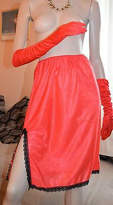 Red silky nylon & lace vintage half slip uk 10-12