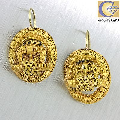 1870s Antique Victorian 18k Solid Yellow Gold Etruscan Weave Scroll Earrings