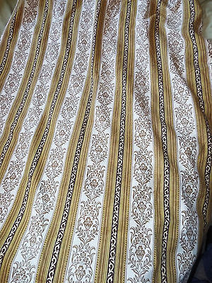 *SUPERB VINTAGE* Single Curtain Fabric Material Gold Floral Striped 1970s 1980s