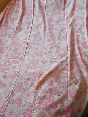 *SUPERB VINTAGE* Pink & White Floral Double Flat Sheet Fabric 1970s 1980s 1960s