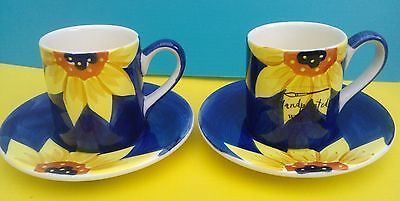 New Whittard of Chelsea 2 x Sunflower Espresso Cups and Saucers - Perfect