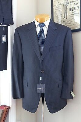 NEW Canali Navy Blue Pinstripe Suit 44S 37W 2 Button Jacket Pleated Pants 54C