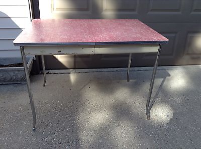 Vintage Red Pink Formica Table With Chome Legs And A Leaf Very Nice Shape