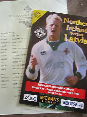 NORTHERN IRELAND v LATVIA    ECQ  1995    Programme &  Teamsheet