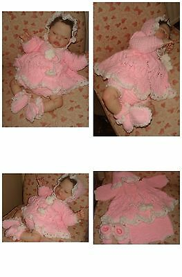 """Adorable Hand Knitted Four Piece Set Designed 18/19""""Reborn Doll or Newborn"""