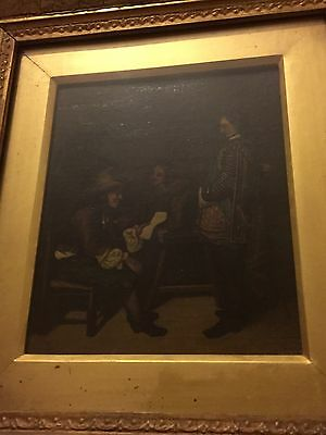 Antique 19th Century Oil Painting On Canvas, The Gentlemen.