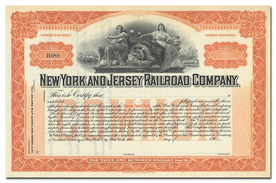 New York and Jersey Railroad Company Stock Certificate