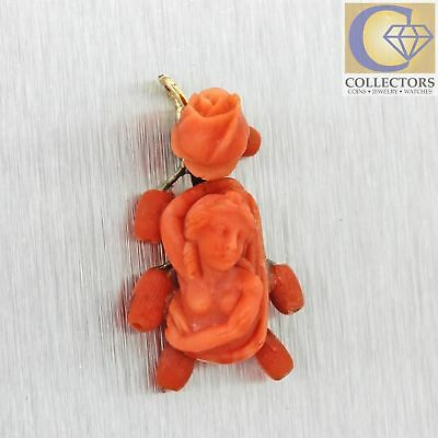 1880s Antique Victorian 14k Solid Gold Carved Red Coral Rose Cameo Pendant