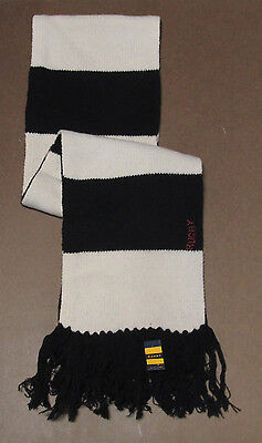 Polo Ralph Lauren Rugby Mens Black & Cream Wool Knit Scarf New