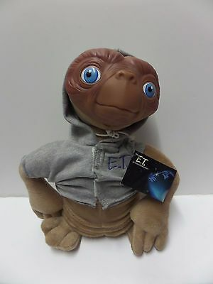 """12"""" E. T. Vintage Plush Rubber Face Toy Grey Hoodie by Applause 1998 free P&P"""