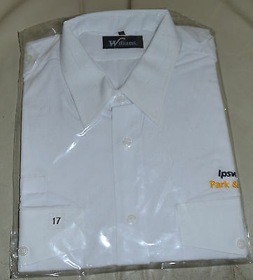 "Williams White Ipswich Park & Ride Bus Drivers Short Sleeve Shirt 17"" Collar"