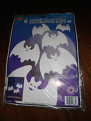 "1995 Beistle 6 Halloween 11"" Bats All Weather NIP Free Shipping USA"