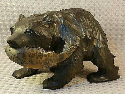 Old Wood Ainu Hand Carved Tradition Black Bear and Salmon Figure Japanese