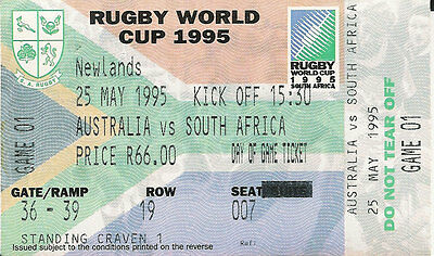 Australia v South Africa 25 May 1995 RUGBY WORLD CUP TICKET opening match