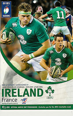 Ireland v France 14 Feb 2015 Championship season for Ireland RUGBY PROGRAMME