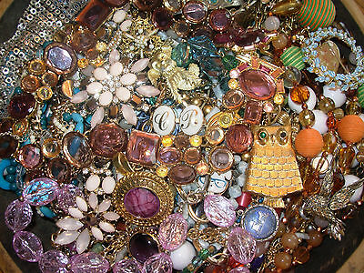 7+ lbs HUGE LOT VINTAGE & MOD JEWELRY JUNK DRAWER CRAFT HARVEST PARTS wearable