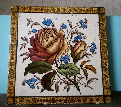 Antique Victorian tile 15x15cms
