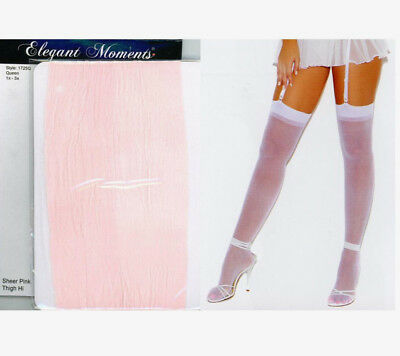 Elegant Moments 1725 Sheer Stockings Nylon Nd Garters Plus 1-3X Queen Baby Pink