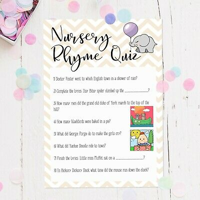 Baby Shower Nursery Rhyme Game Pack Of 16 Multi Coloured Boys