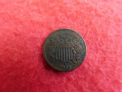 1864 United States Two Cents Piece Coin 2C