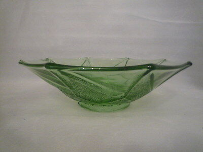 A Lovely Green Glass Fruit Bowl 10 inches dia. Perfect Condition
