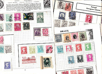 Stamps Brazil removed  from old albums see all scans