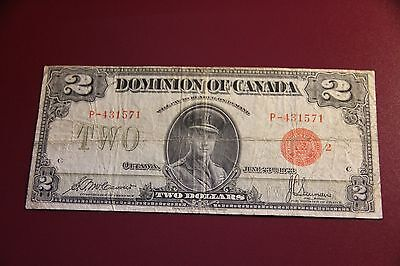 Red Seal 1923 Canada Two Dollar Bill Canadian 2 Dollars Note