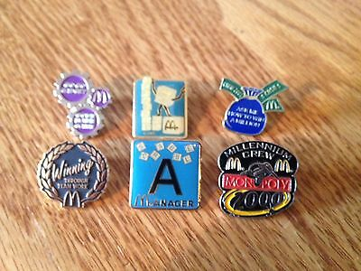 6 McDonald's Game Collector Pins Including Scrabble Pins