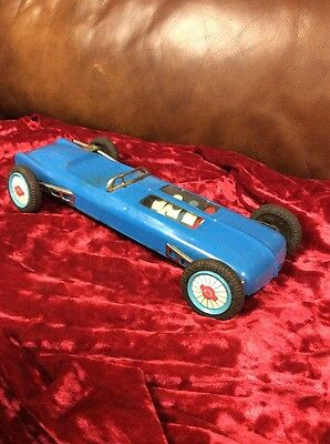 Vintage CRAGSTAN Japan Tin Friction Racing Car Toy PISTON ACTION Hood 1950s Old