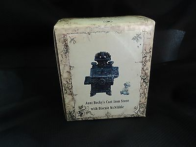 2003 Boyds Treasure Box Aunt Becky's Cast Iron Stove W/biscuit- New- Buy It Now